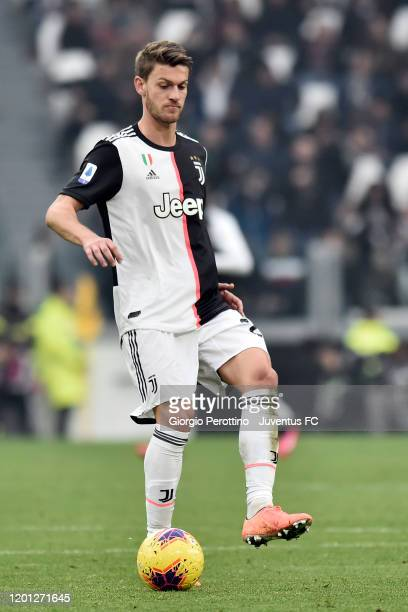 Daniele Rugani of Juventus controls the ball during the Serie A match between Juventus and Brescia Calcio at Allianz Stadium on February 16 2020 in...