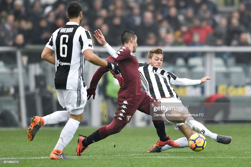 Daniele Rugani of Juventus during the serie A match between Torino FC and Juventus at Stadio Olimpico di Torino on February 18, 2018 in Turin, Italy.