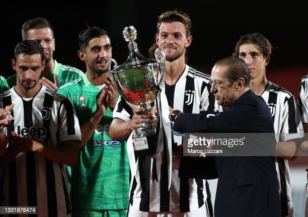 Daniele Rugani of Juventus FC and AC Monza president Paolo Berlusconi at the end of the AC Monza v Juventus FC - Trofeo Berlusconi at Stadio Brianteo...