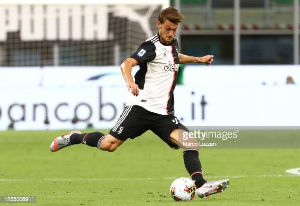 Daniele Rugani of Juventus FC in action during the Serie A match between AC Milan and Juventus at Stadio Giuseppe Meazza on July 7, 2020 in Milan,...