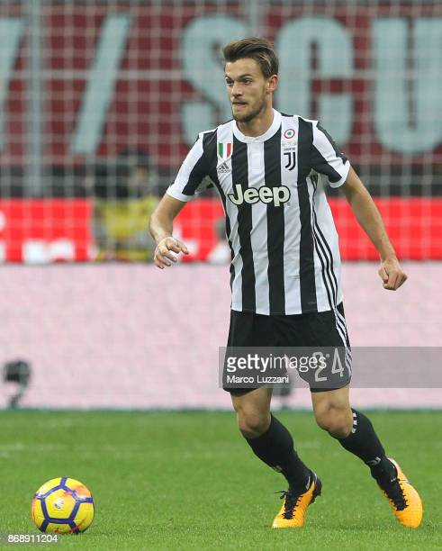 Daniele Rugani of Juventus FC in action during the Serie A match between AC Milan and Juventus at Stadio Giuseppe Meazza on October 28 2017 in Milan...