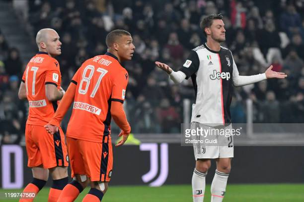 Daniele Rugani of Juventus FC reacts during the Coppa Italia match between Juventus and Udinese Calcio at Allianz Stadium on January 15, 2020 in...