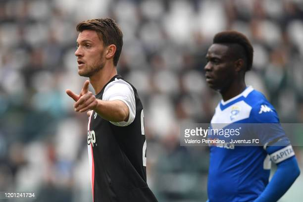 Daniele Rugani of Juventus gestures during the Serie A match between Juventus and Brescia Calcio at Allianz Stadium on February 16 2020 in Turin Italy