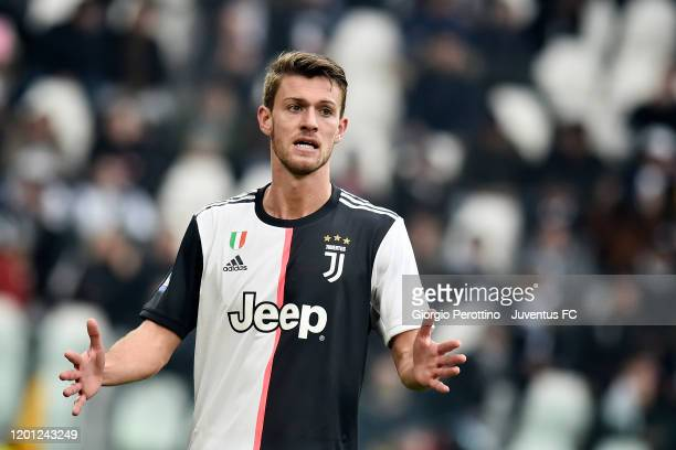 Daniele Rugani of Juventus gestures during the Serie A match between Juventus and Brescia Calcio at Allianz Stadium on February 16, 2020 in Turin,...