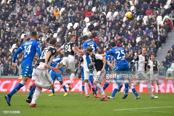 Daniele Rugani of Juventus heads the ball during the Serie A match between Juventus and Brescia Calcio at Allianz Stadium on February 16 2020 in...