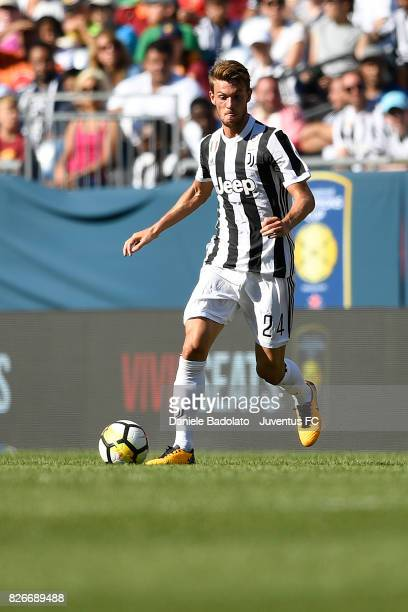Daniele Rugani of Juventus in action during the International Champions Cup 2017 match between AS Roma and Juventus at Gillette Stadium on July 30...