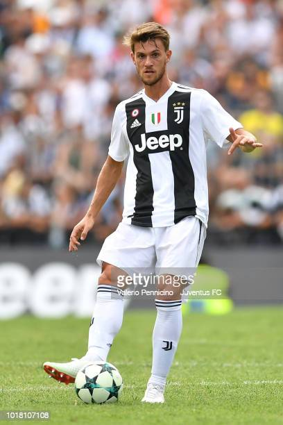 Daniele Rugani of Juventus in action during the PreSeason Friendly match between Juventus and Juventus U19 on August 12 2018 in Villar Perosa Italy