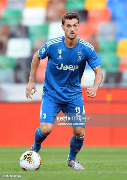 Daniele Rugani of Juventus in action during the Serie A match between Udinese Calcio and Juventus at Stadio Friuli on July 23, 2020 in Udine, Italy.