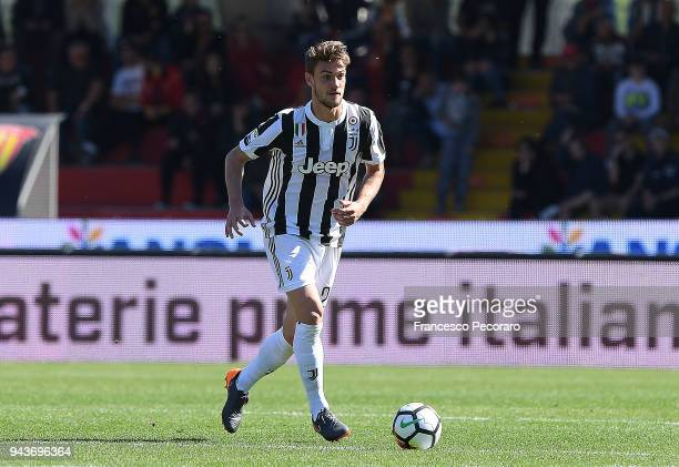 Daniele Rugani of Juventus in action during the serie A match between Benevento Calcio and Juventus at Stadio Ciro Vigorito on April 7 2018 in...