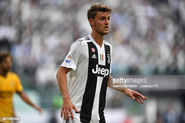 Daniele Rugani of Juventus looks on during the Serie A match between Juventus and Hellas Verona FC at Allianz Stadium on May 19 2018 in Turin Italy
