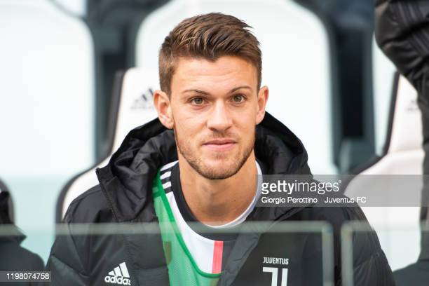 Daniele Rugani of Juventus on the bench looks on during the Serie A match between Juventus and ACF Fiorentina at Allianz Stadium on February 2, 2020...