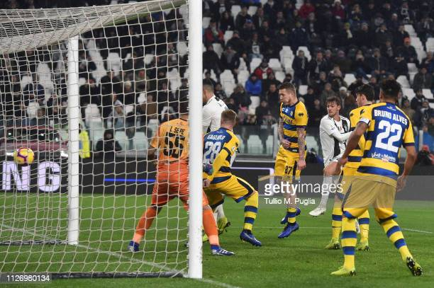 Daniele Rugani of Juventus scores his team's second goal during the Serie A match between Juventus and Parma Calcio at Allianz Stadium on February 02...