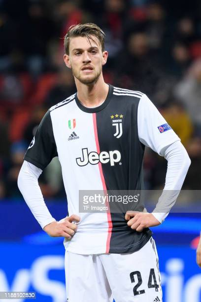 Daniele Rugani of Juventus Turin looks on during the UEFA Champions League group D match between Bayer Leverkusen and Juventus at BayArena on...