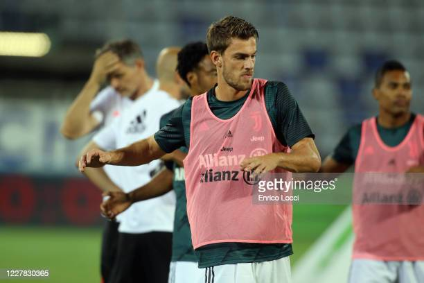 Daniele Rugani of Juventus warms up prior the Serie A match between Cagliari Calcio and Juventus at Sardegna Arena on July 29, 2020 in Cagliari,...