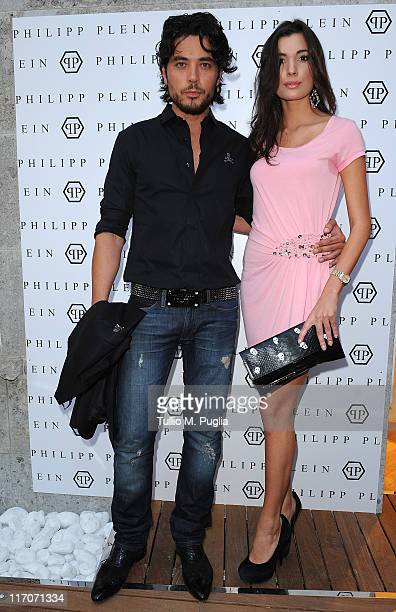 Daniele Santoianni and guest attend the Philipp Plein cocktail party after fashion show as part of Milan Fashion Week Menswear Spring/Summer 2012 on...
