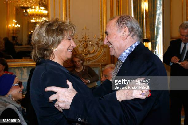 Daniele Thompson and Claude Brasseur attend Claude Brasseur is elevated to the rank of Officier de la Legion d'Honneur at Elysee Palace on March 13...