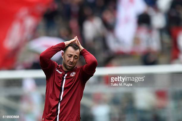 Daniele Vantaggiato of Livorno shows his dejection after losing the Serie B match between AS Livorno and FC Bari at Stadio Armando Picchi on April 9...
