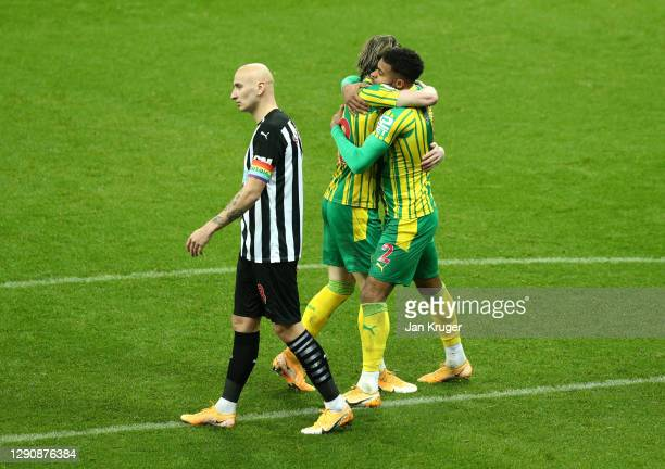 Daniell Furlong of West Bromwich Albion celebrates with teammate Conor Gallagher after scoring his team's first goal during the Premier League match...