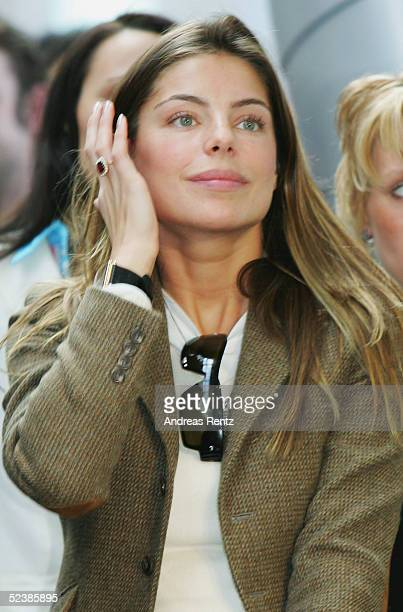 Daniella Cicarelli 24yearold Brazilian model and fiancee of Brazilian footballer Ronaldo attends the CeBIT technology trade fair March 14 2005 in...