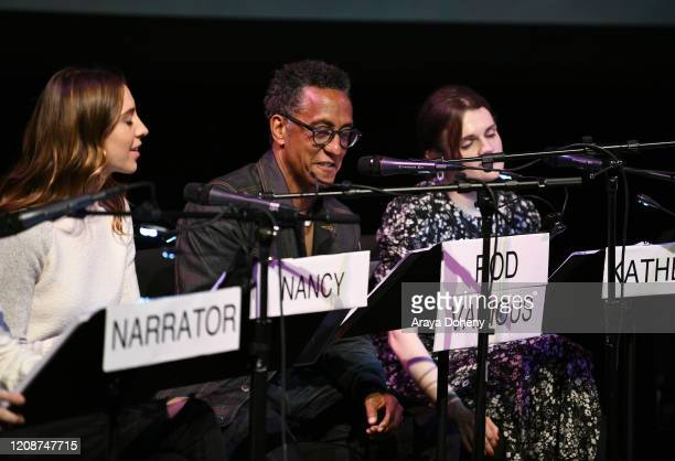 "Daniella Covino, Andre Royo and Gayle Rankin at the Film Independent Screening Series Presents Live Read Of ""Breaking Away"" at Wallis Annenberg..."