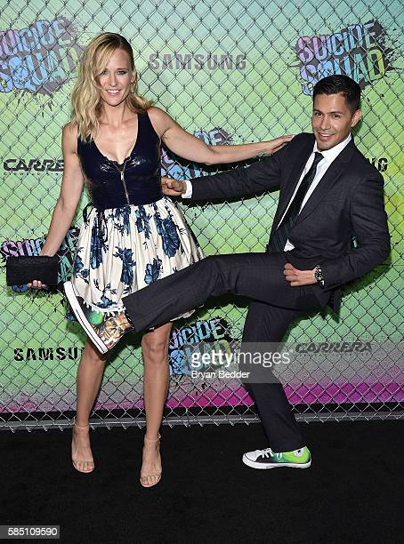 Daniella Deutscher and actor Jay Hernandez attend the Suicide Squad premiere sponsored by Carrera at Beacon Theatre on August 1, 2016 in New York...