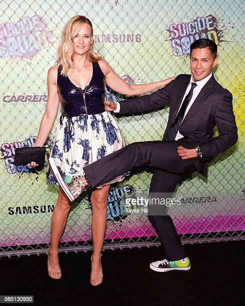 Daniella Deutscher and Jay Hernandez attend the 'Suicide Squad' World Premiere at The Beacon Theatre on August 1, 2016 in New York City.