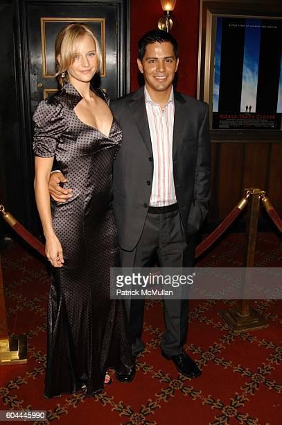 Daniella Deutscher and Jay Hernandez attend World Trade inside arrivals at Ziegfeld Theater NYC on August 3 2006