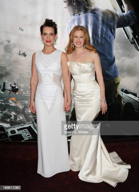 Daniella Kertesz and Mireille Enos attend the World Premiere of 'World War Z' at The Empire Cinema on June 2, 2013 in London, England.
