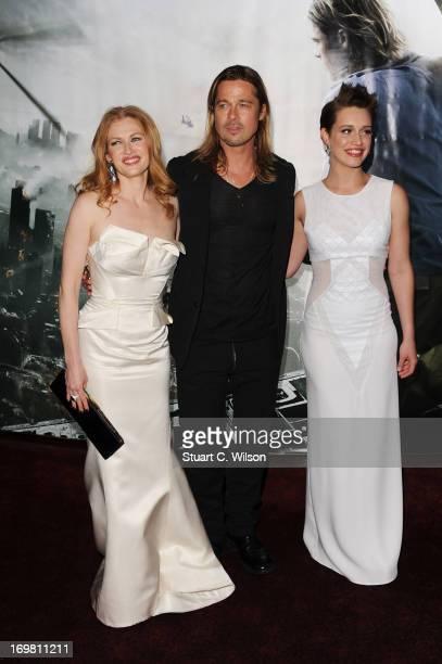 Daniella Kertesz, Brad Pitt and Mireille Enos attend the World Premiere of 'World War Z' at The Empire Cinema on June 2, 2013 in London, England.