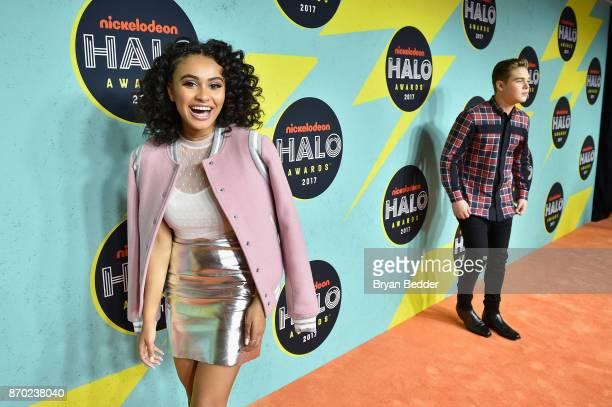 Daniella Perkins and Ricardo Hurtado attend the 2017 Nickelodeon HALO Awards at Pier 36 on November 4 2017 in New York City