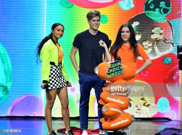 Daniella Perkins Owen Joyner and Lilimar speak onstage at Nickelodeon's 2019 Kids' Choice Awards at Galen Center on March 23 2019 in Los Angeles...