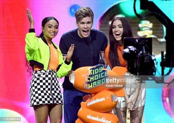 Daniella Perkins Owen Joyner and Lilimar speaks onstage at Nickelodeon's 2019 Kids' Choice Awards at Galen Center on March 23 2019 in Los Angeles...