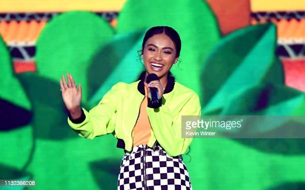 Daniella Perkins speaks onstage at Nickelodeon's 2019 Kids' Choice Awards at Galen Center on March 23 2019 in Los Angeles California