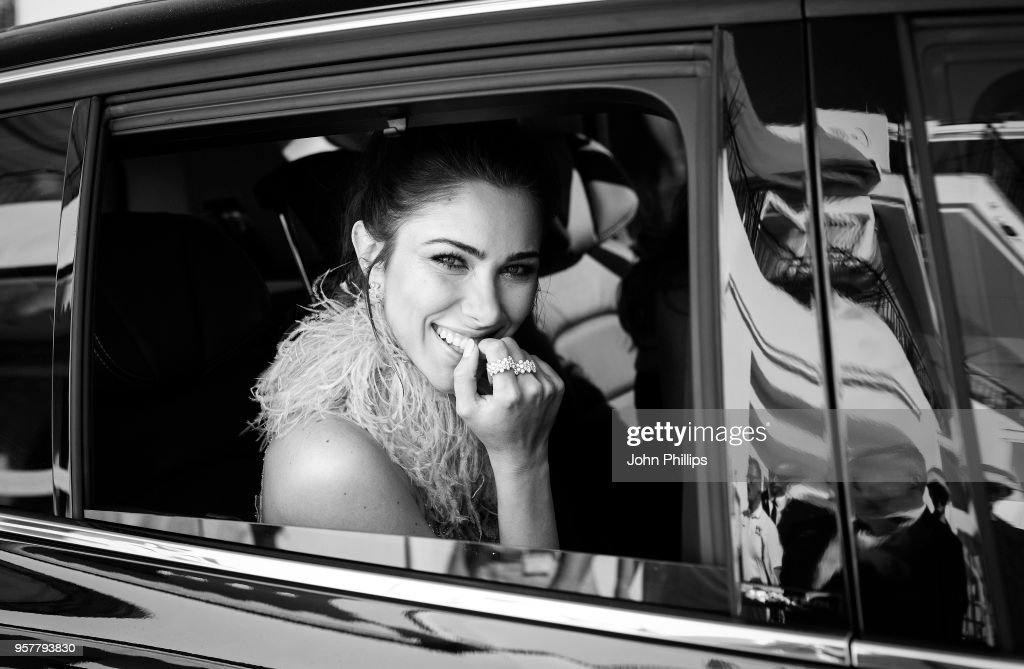 Daniella Rahme departs the Martinez Hotel during the 71st annual Cannes Film Festival at on May 12, 2018 in Cannes, France.