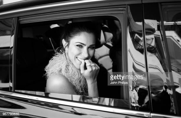 Daniella Rahme departs the Martinez Hotel during the 71st annual Cannes Film Festival at on May 12 2018 in Cannes France