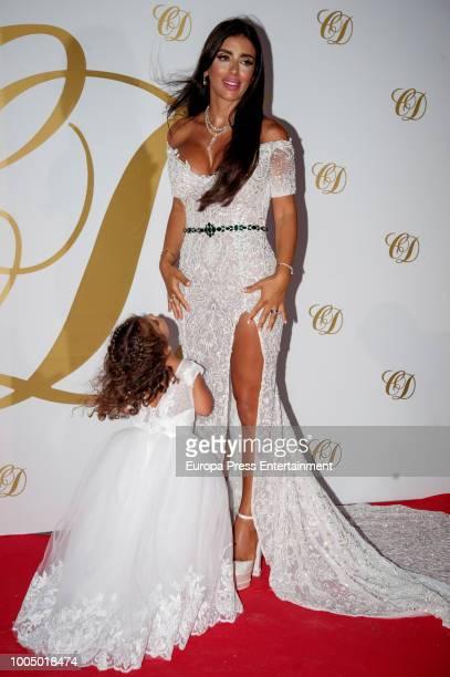 Daniella Semaan and daughter Capri Fabregas attend Cesc Fabregas and Daniella Semaan's wedding party on July 24 2018 in Ibiza Spain