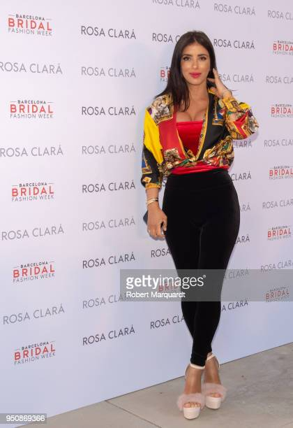 Daniella Semaan poses for a photocall at the Rosa Clara fashion show during Barcelona Bridal Week 2018 held at the Recinte Modernista de Sant Pau on...