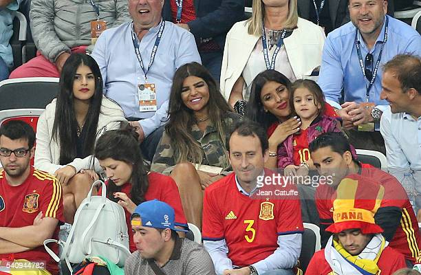 Daniella Semaan wife of Cesc Fabregas and their daughter Lia Fabregas attend the UEFA EURO 2016 Group D match between Spain and Turkey at Allianz...