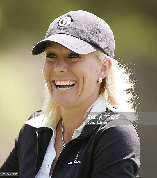 Danielle Amiee winner of the Golf Channel's Big Break III laughs on the ninth hole during the second round of the Michelob Ultra Open on May 7 2005...