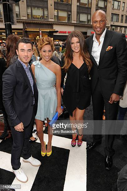 Danielle and Kevin Jonas of Married to Jonas and Khloe Kardashian and Lamar Odom of Keeping Up with the Kardashians attend E 2012 Upfront at NYC...