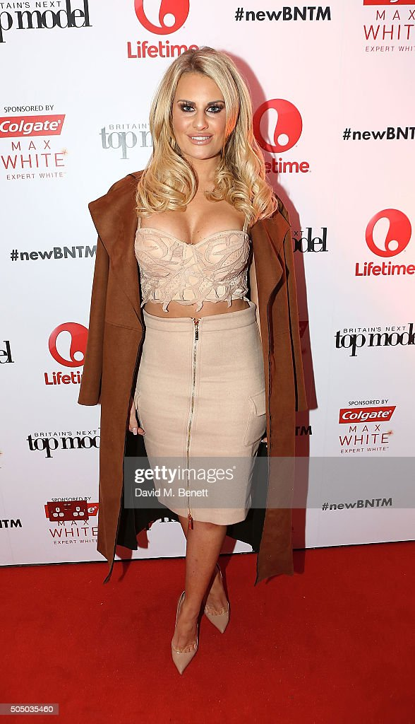 Danielle Armstrong attends Lifetime's launch of Britain's Next Top Model airing tonight at 9pm on Lifetime at Kensington Roof Gardens on January 14, 2016 in London, England.