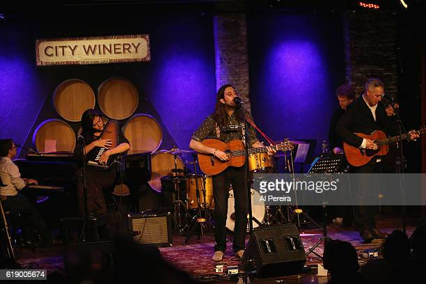 Danielle Aykroyd Elvis Perkins and Wesley Stace performs as part of the Wesley Stace's Cabinet of Wonders show at City Winery on October 28 2016 in...