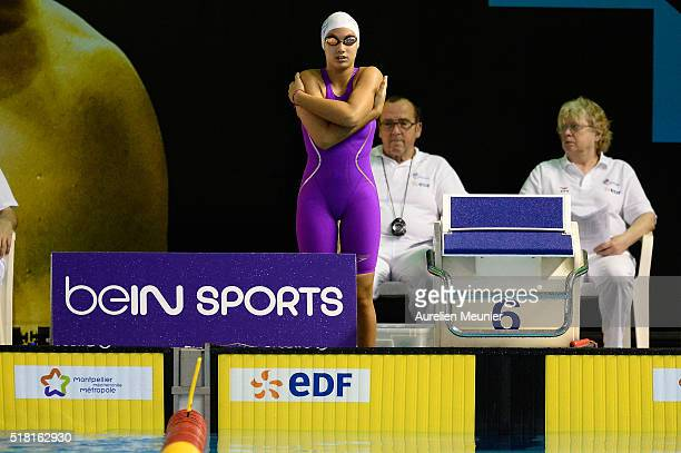 Danielle Bakhshaei of France prepares to compete in the 100m Women's breaststroke on day two of the French National Swimming Championships on March...