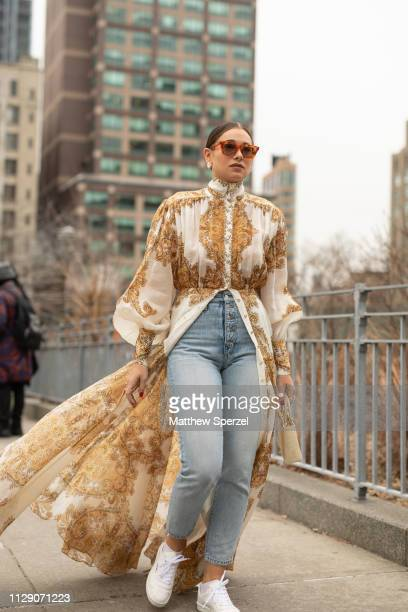 Danielle Bernstein is seen on the street during New York Fashion Week AW19 wearing Zimmermann on February 11 2019 in New York City