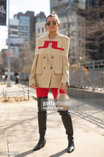 Danielle Bernstein is seen on the street during New York Fashion Week AW19 wearing JLindeberg on February 13 2019 in New York City
