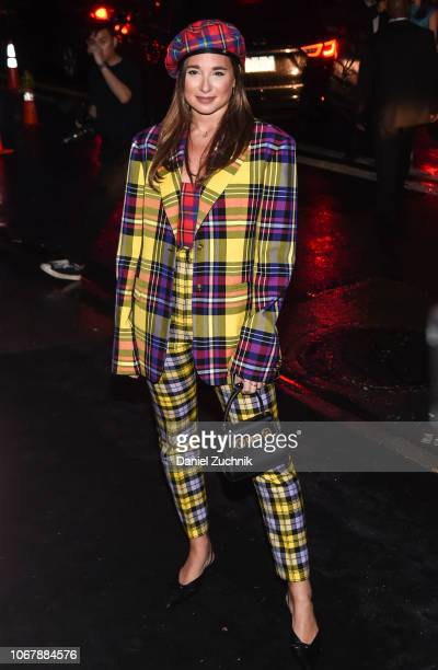 Danielle Bernstein is seen wearing a Versace suit outside the Versace PreFall 2019 Collection on December 2 2018 in New York City