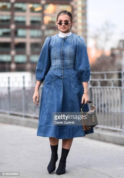 Danielle Bernstein is seen wearing an Ulla Johnson jean dress outside the Ulla Johnson show during New York Fashion Week Women's A/W 2018 on February...