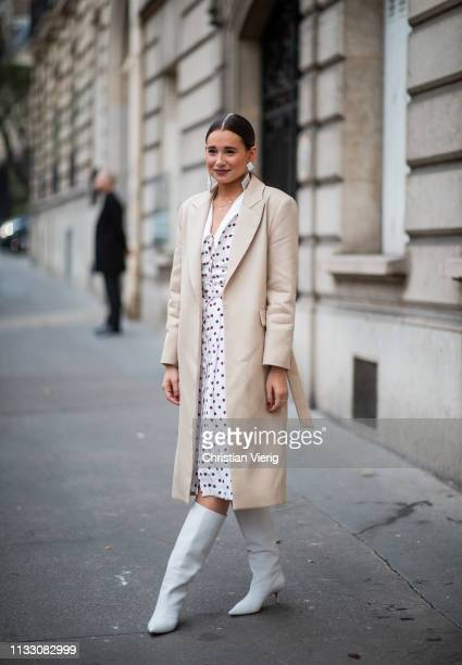 Danielle Bernstein is seen wearing beige coat, hair clip during Paris Fashion Week Womenswear Fall/Winter 2019/2020 on March 01, 2019 in Paris,...