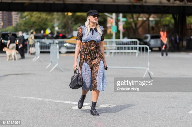Danielle Bernstein wearing a flat cap seen in the streets of Manhattan outside Coach during New York Fashion Week on September 12 2017 in New York...