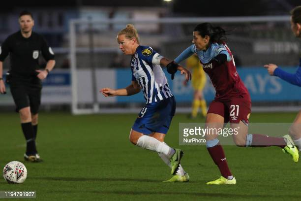 Danielle Bowman of Brighton and Hove Albion Women getting past Kenza Dali of West Ham United Women during the Barclays FA Women's Super League match...